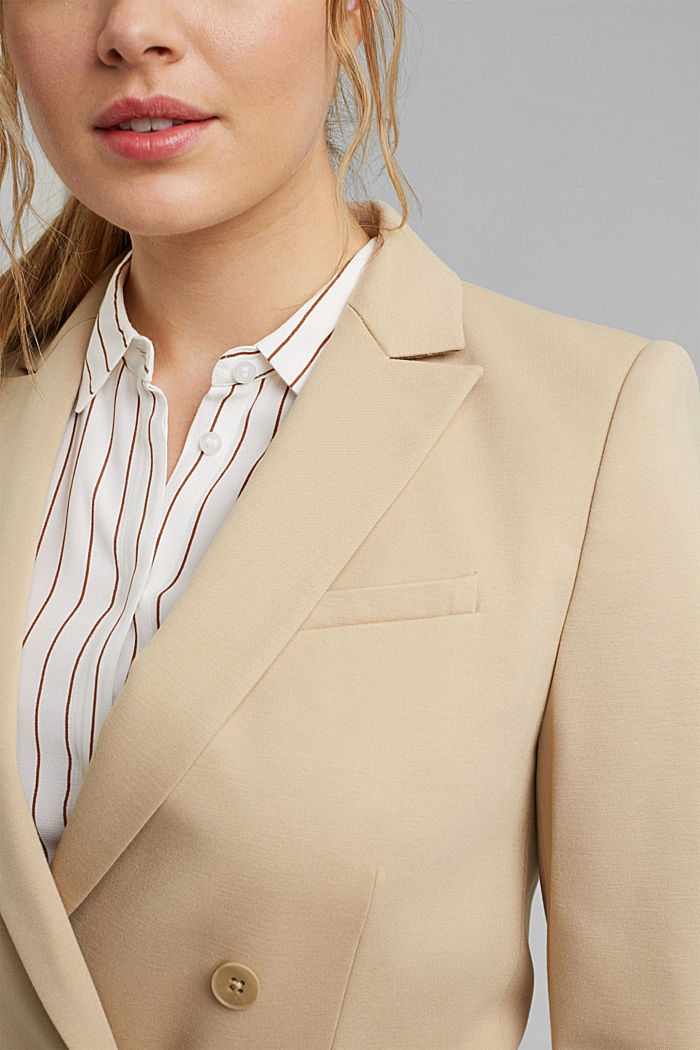 Double-breasted jersey blazer, SAND, detail image number 2