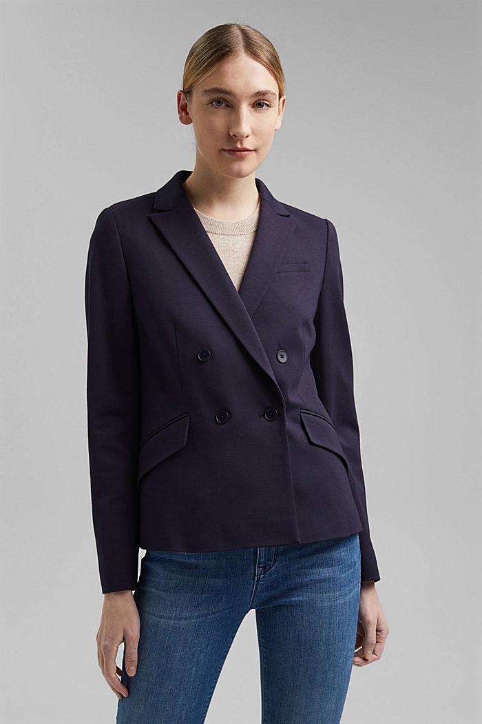 Zweireihiger Jersey-Blazer, NAVY, detail image number 0