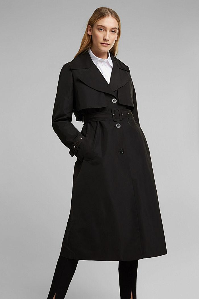 Recycelt: Trenchcoat mit Taillengürtel, BLACK, detail image number 0