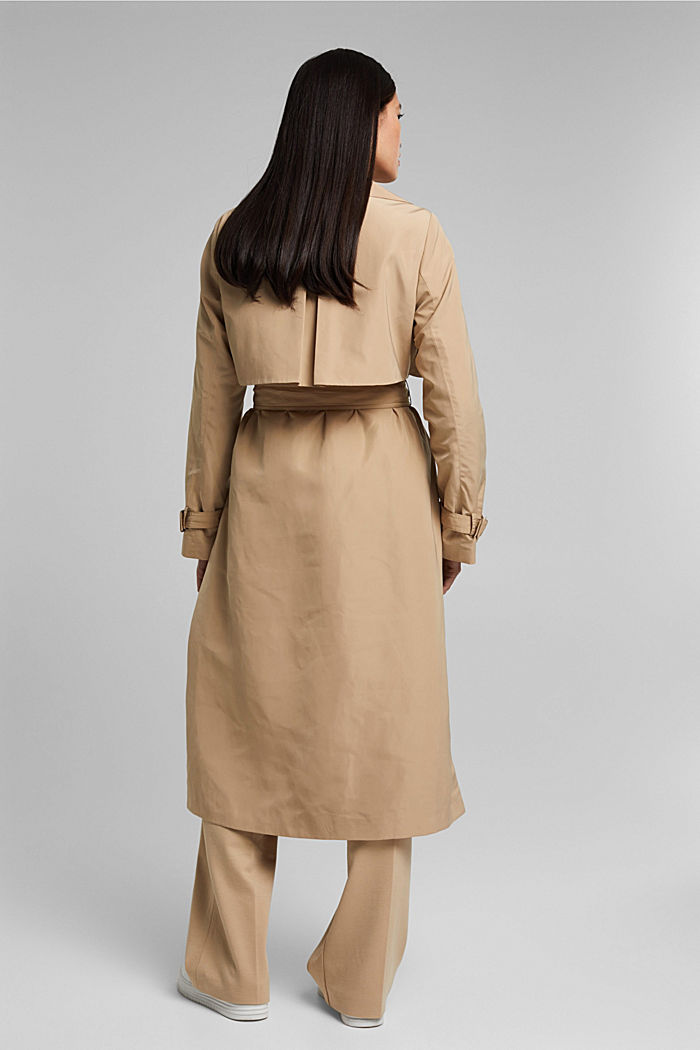 Recycled: Trench coat with a waist belt, SAND, detail image number 3