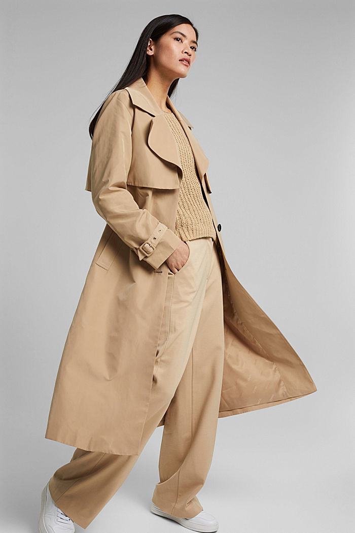 Recycled: Trench coat with a waist belt, SAND, detail image number 1