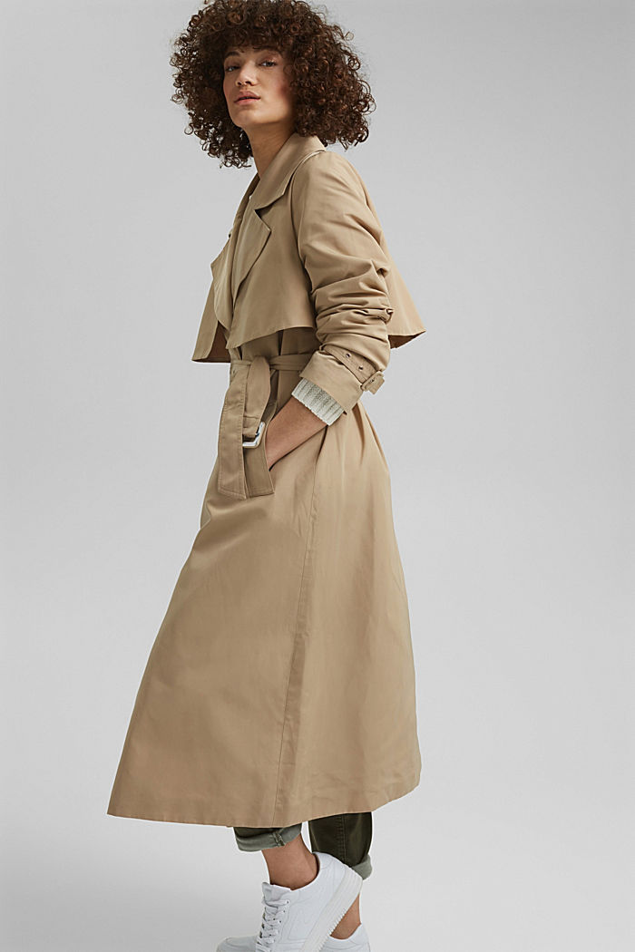 Recycled: Trench coat with a waist belt, SAND, detail image number 6