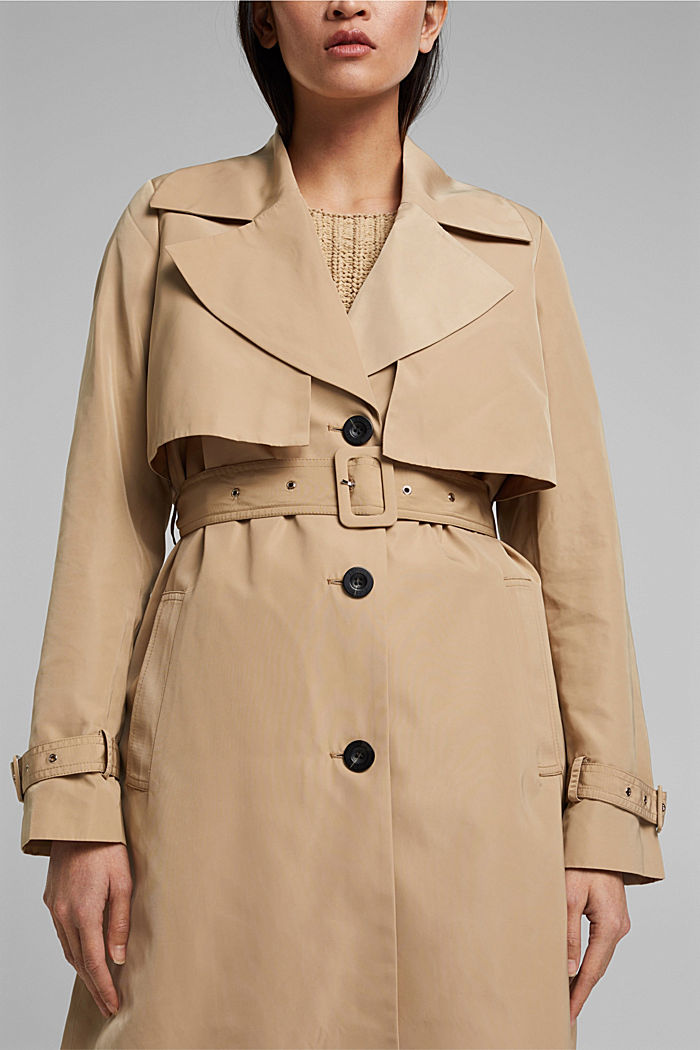 Recycled: Trench coat with a waist belt, SAND, detail image number 2