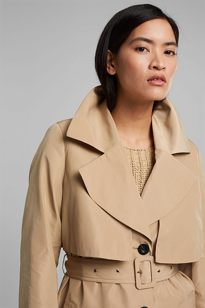 Recycled: Trench coat with a waist belt, SAND, detail image number 5