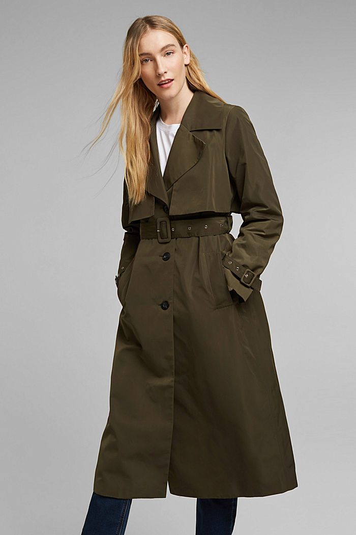 Recycled: Trench coat with a waist belt, OLIVE, detail image number 0
