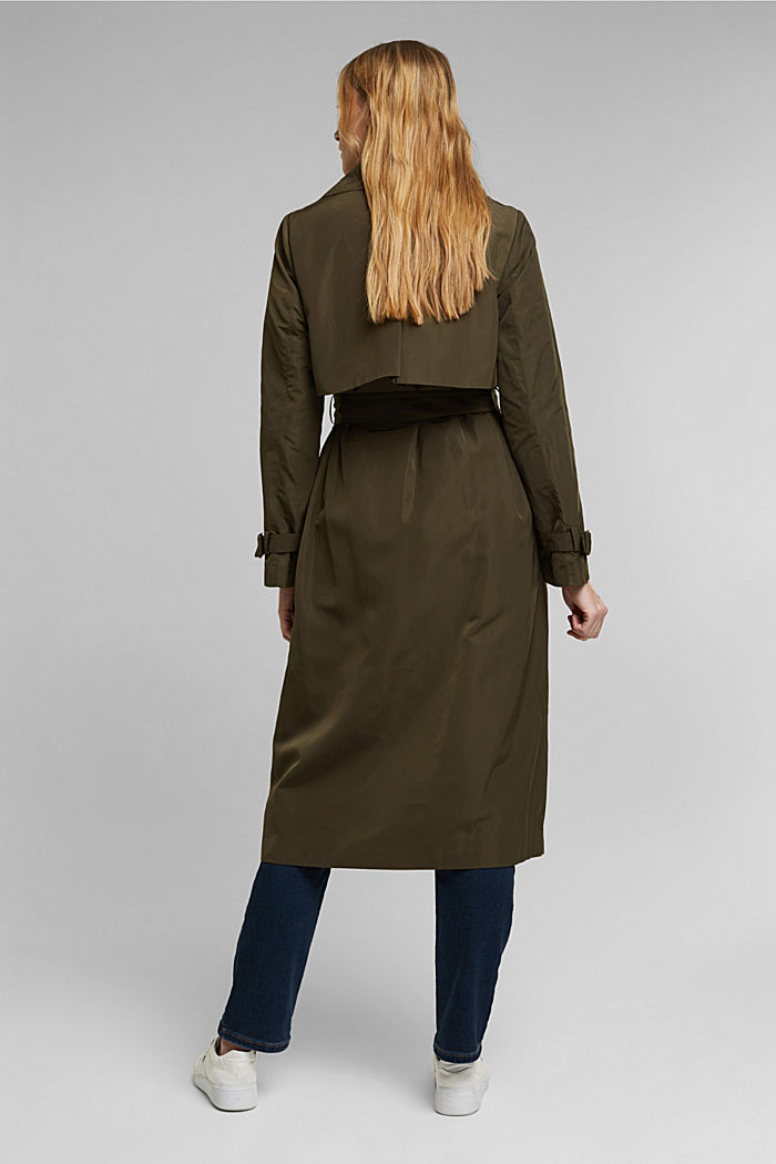 Recycled: Trench coat with a waist belt, OLIVE, detail image number 3