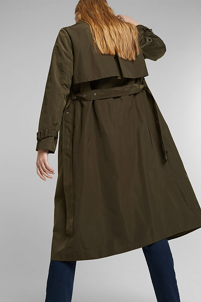 Recycled: Trench coat with a waist belt, OLIVE, detail image number 6