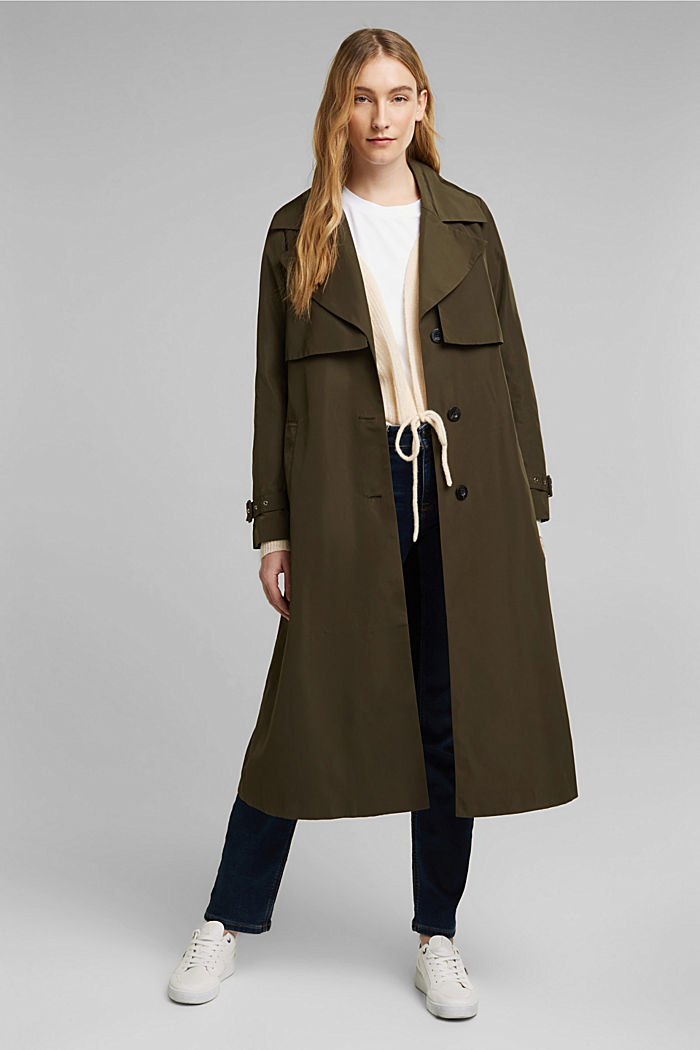 Recycled: Trench coat with a waist belt, OLIVE, detail image number 1