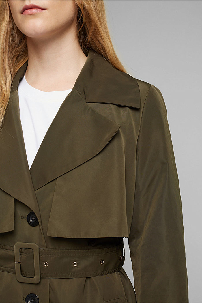 Recycled: Trench coat with a waist belt, OLIVE, detail image number 2