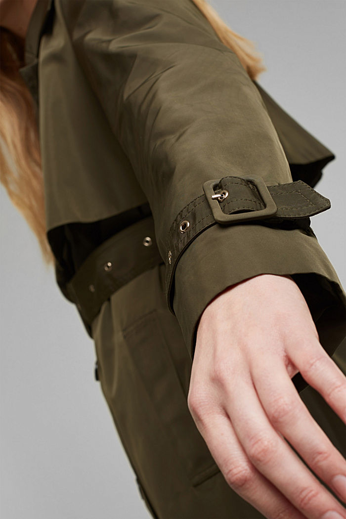 Recycled: Trench coat with a waist belt, OLIVE, detail image number 5