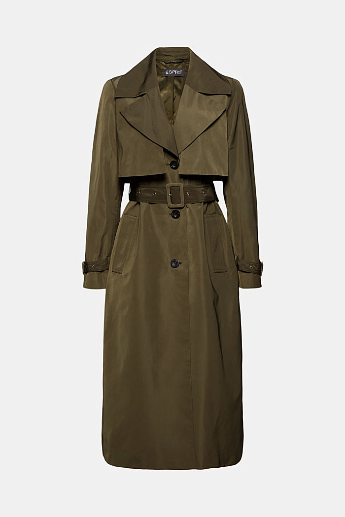 Recycled: Trench coat with a waist belt, OLIVE, detail image number 7