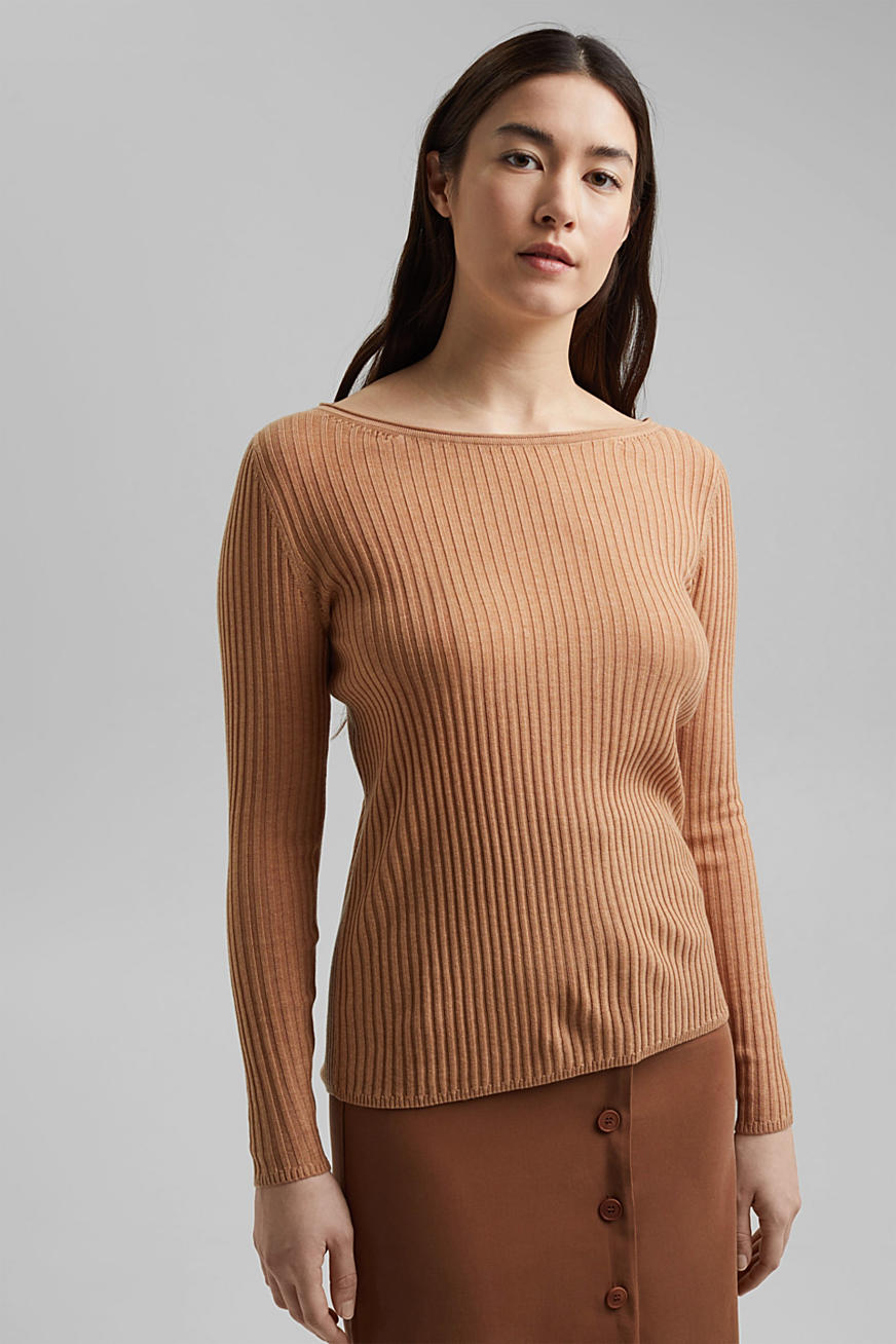 In TENCEL™/lana: pullover a coste con scollo a barchetta