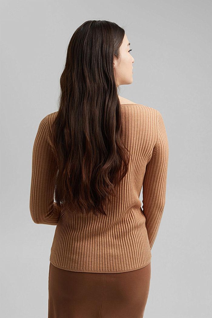 Made of TENCEL™/wool: ribbed, bateau neckline jumper, CAMEL, detail image number 3