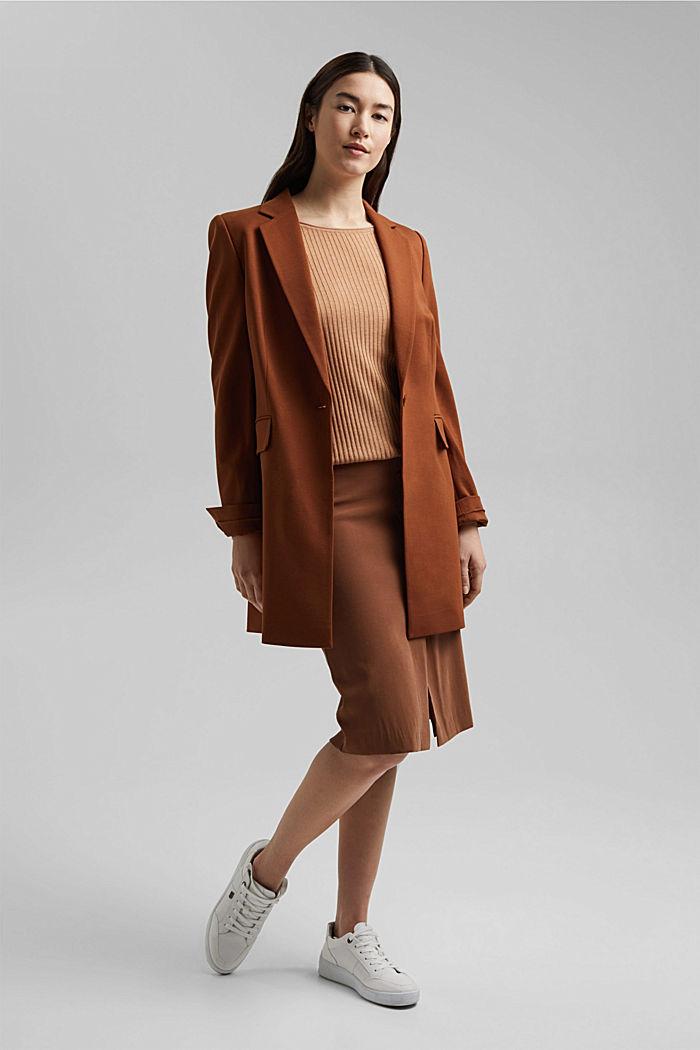 Made of TENCEL™/wool: ribbed, bateau neckline jumper, CAMEL, detail image number 1