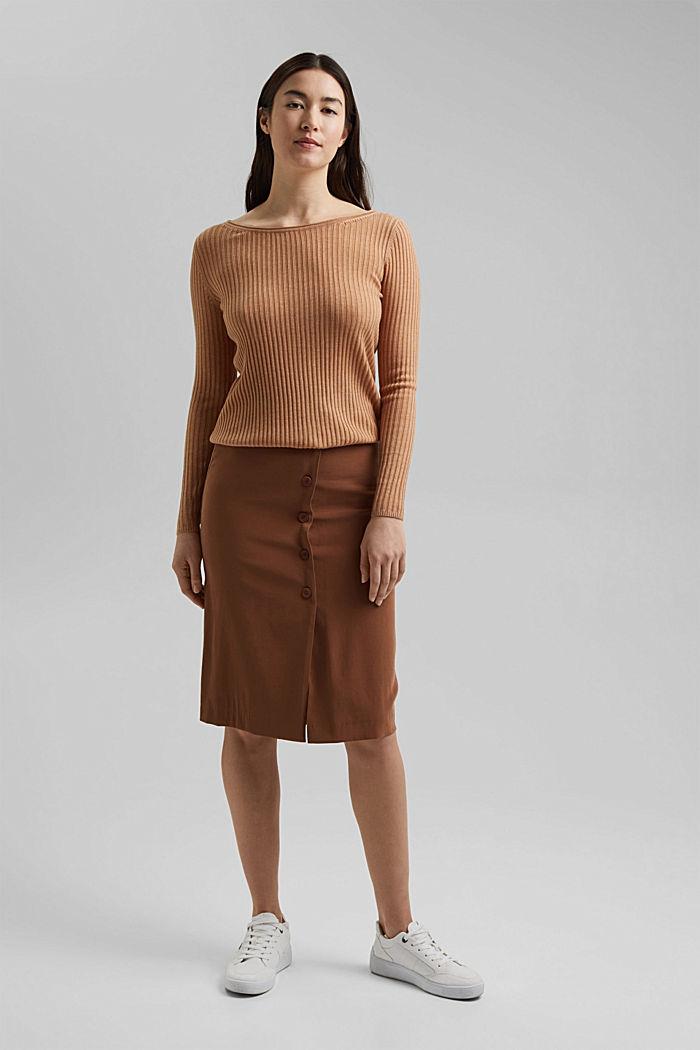 Made of TENCEL™/wool: ribbed, bateau neckline jumper, CAMEL, detail image number 5