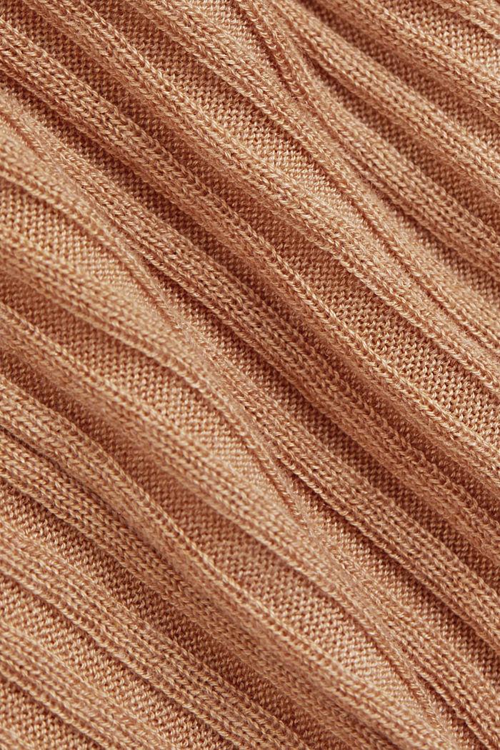 Made of TENCEL™/wool: ribbed, bateau neckline jumper, CAMEL, detail image number 4
