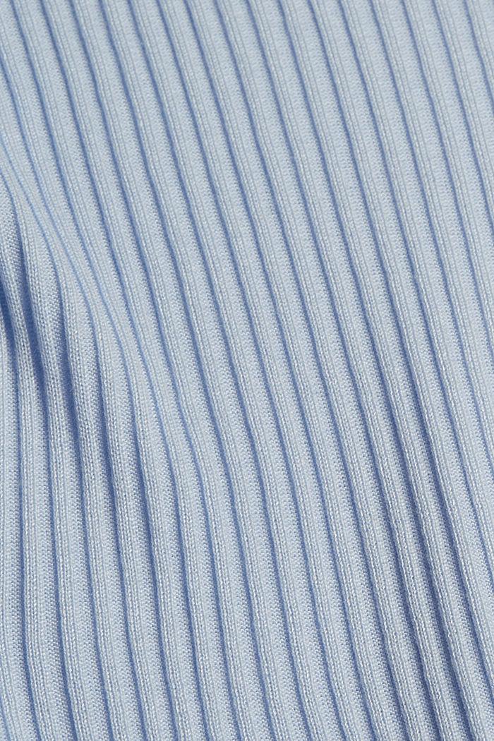 Aus TENCEL™/Wolle: gerippter U-Boot-Pullover, PASTEL BLUE, detail image number 4