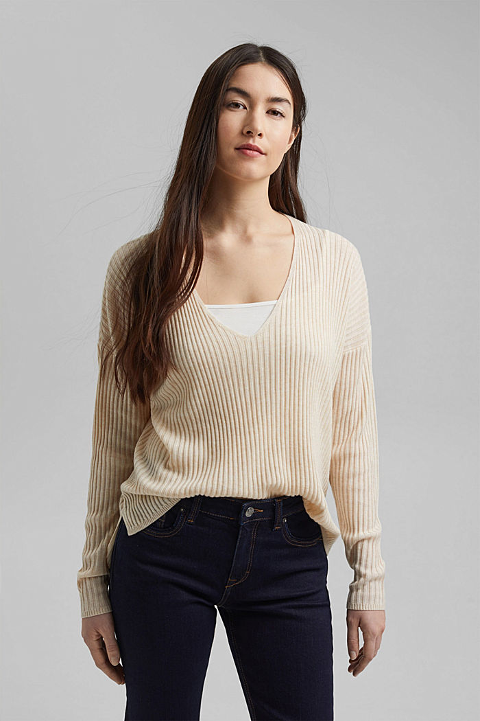 Made of TENCEL™/wool: ribbed V-neck jumper, CREAM BEIGE, detail image number 0