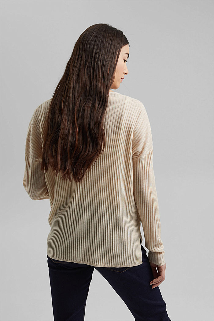 Made of TENCEL™/wool: ribbed V-neck jumper, CREAM BEIGE, detail image number 3