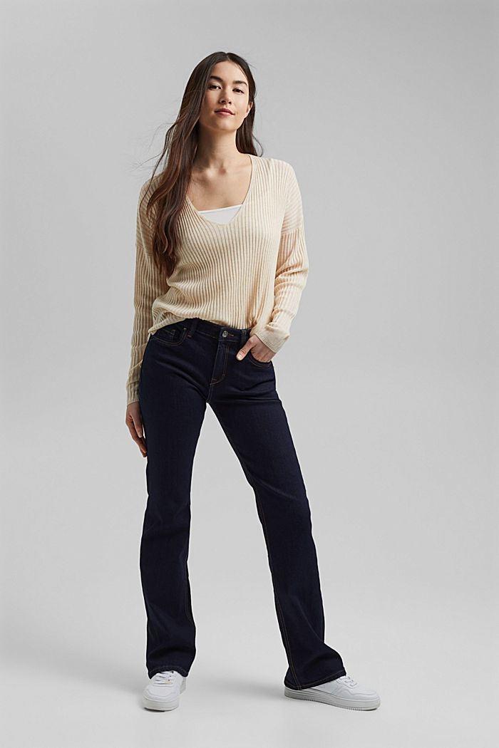 Made of TENCEL™/wool: ribbed V-neck jumper, CREAM BEIGE, detail image number 5