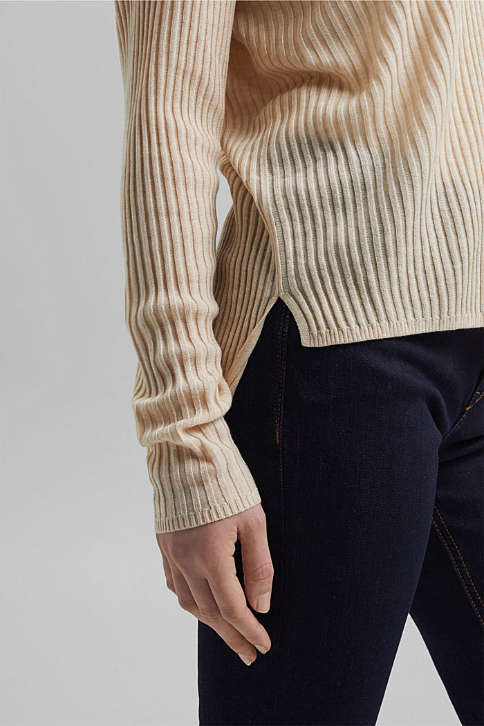 Made of TENCEL™/wool: ribbed V-neck jumper, CREAM BEIGE, detail image number 2