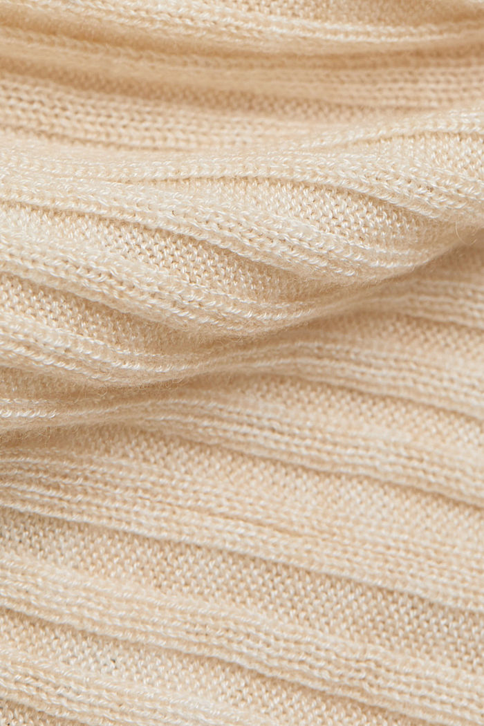 Made of TENCEL™/wool: ribbed V-neck jumper, CREAM BEIGE, detail image number 4