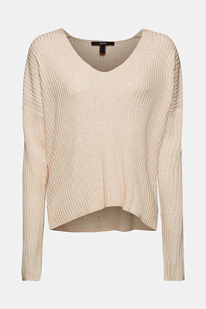 Made of TENCEL™/wool: ribbed V-neck jumper, CREAM BEIGE, detail image number 6