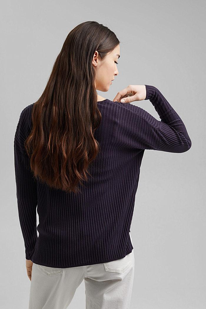 En TENCEL™ et laine: le pull-over côtelé à encolure en V, NAVY, detail image number 3