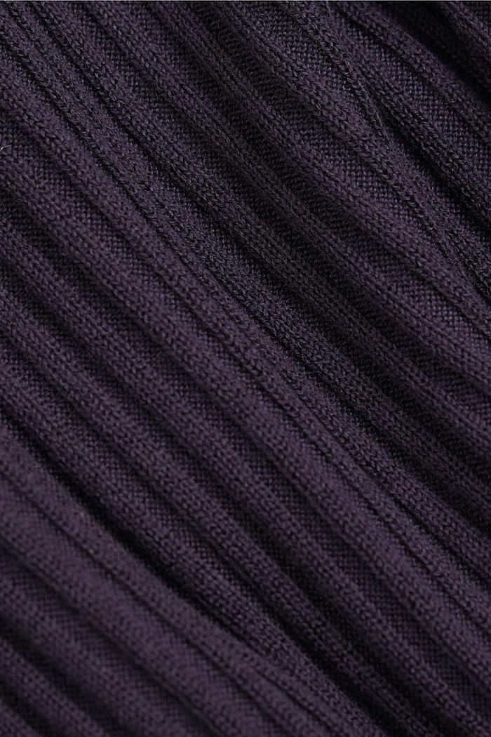 En TENCEL™ et laine: le pull-over côtelé à encolure en V, NAVY, detail image number 4