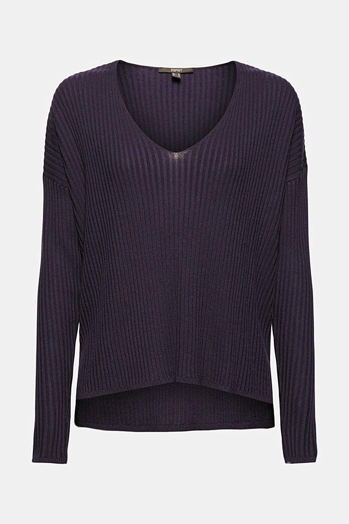 En TENCEL™ et laine: le pull-over côtelé à encolure en V, NAVY, detail image number 6