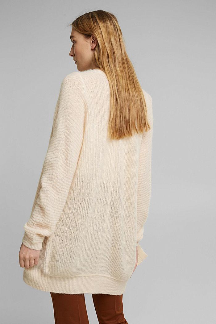 Con lana e alpaca: cardigan in maglia a coste, CREAM BEIGE, detail image number 3