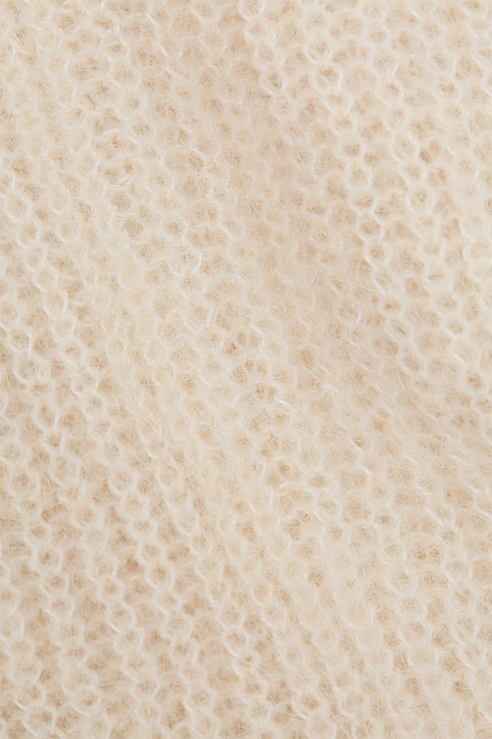 Con lana e alpaca: cardigan in maglia a coste, CREAM BEIGE, detail image number 4