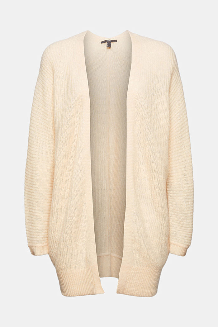 Wool/alpaca blend: ribbed knit cardigan, CREAM BEIGE, overview