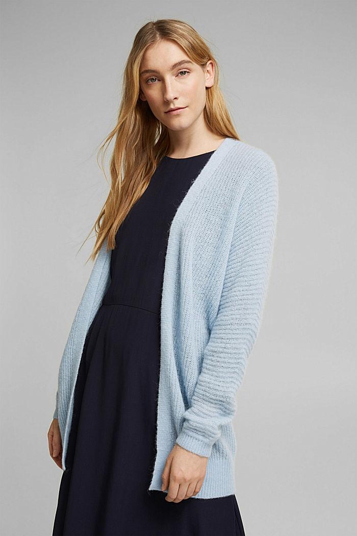Met wol/alpaca: Ribgebreid vest, PASTEL BLUE, detail image number 0