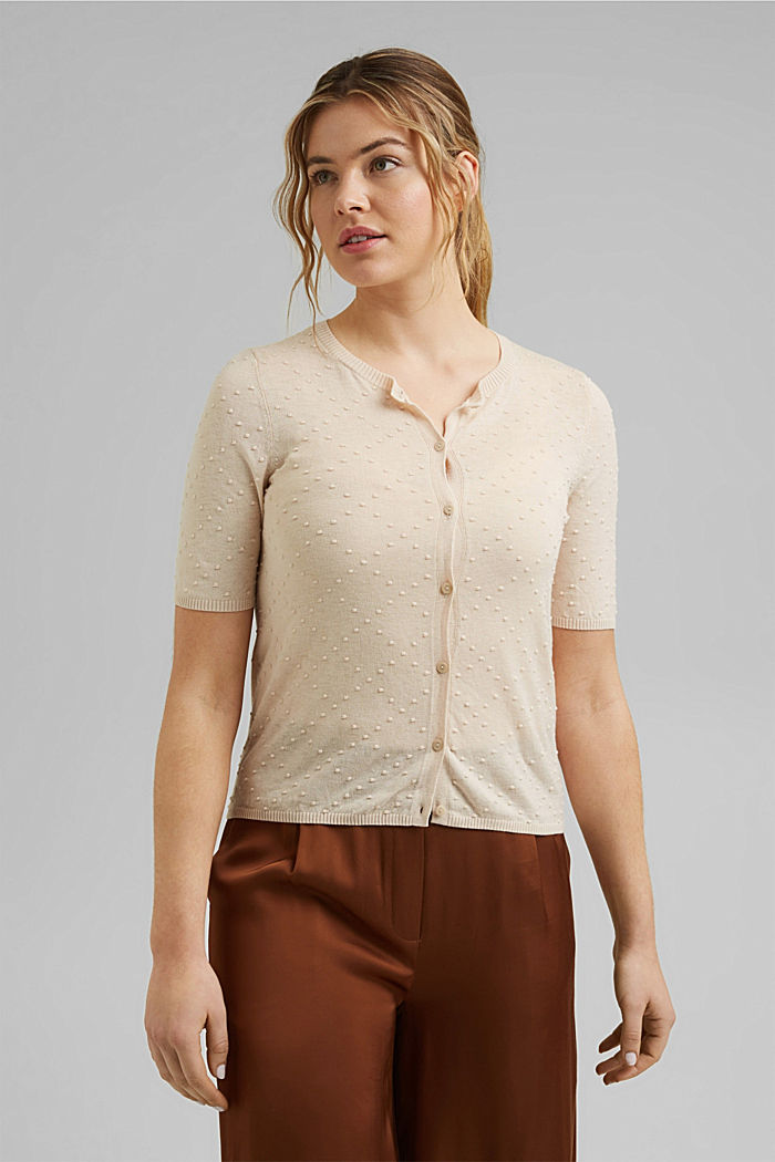 Fine cardigan with a polka dot texture, CREAM BEIGE, overview
