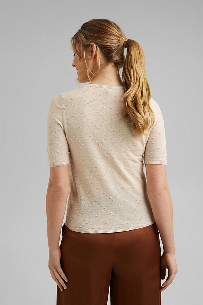 Fine cardigan with a polka dot texture, CREAM BEIGE, detail image number 3