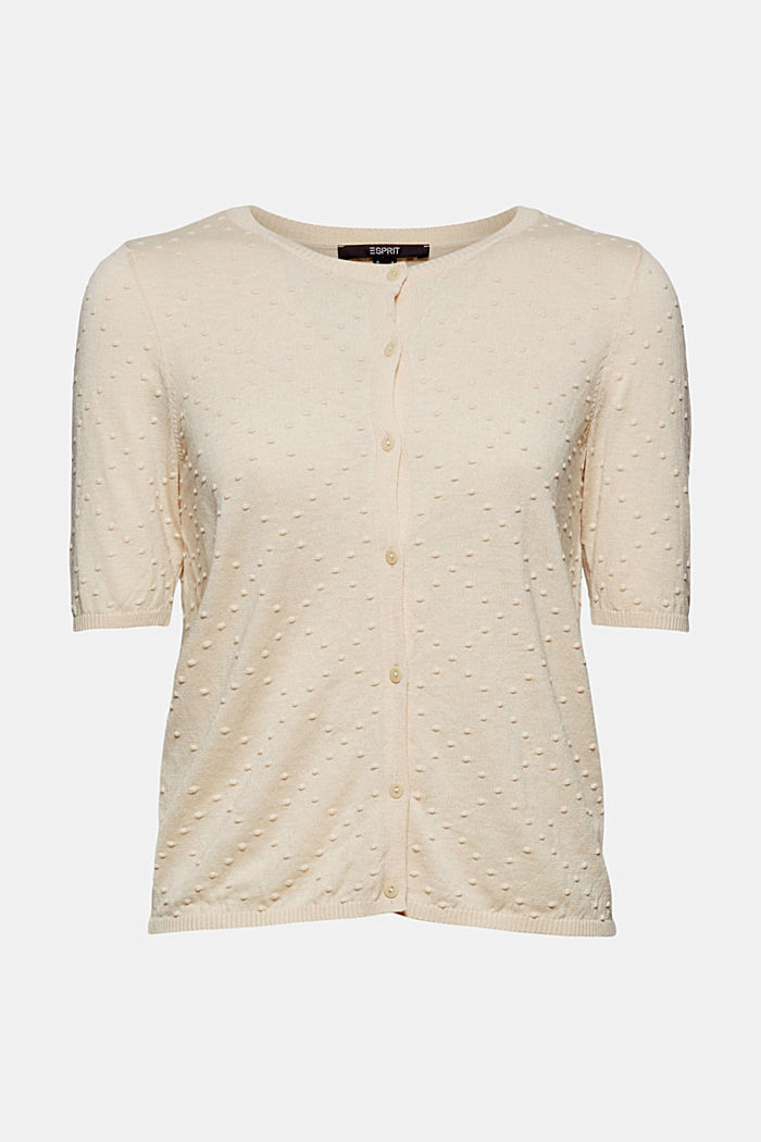 Fine cardigan with a polka dot texture, CREAM BEIGE, detail image number 7