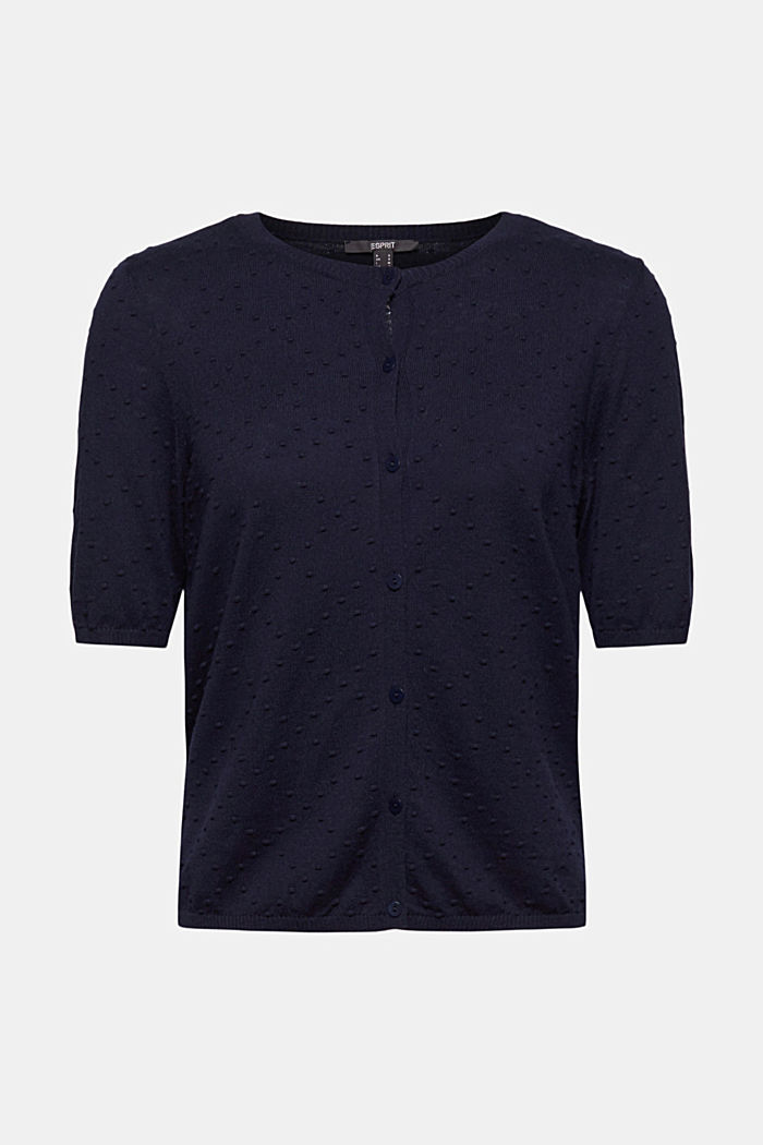 Fine cardigan with a polka dot texture, NAVY, detail image number 6
