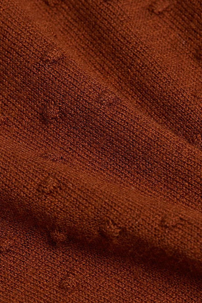 Short-sleeved jumper with a polka dot texture, TOFFEE, detail image number 4