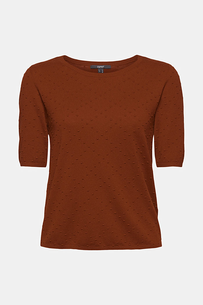 Short-sleeved jumper with a polka dot texture, TOFFEE, detail image number 8