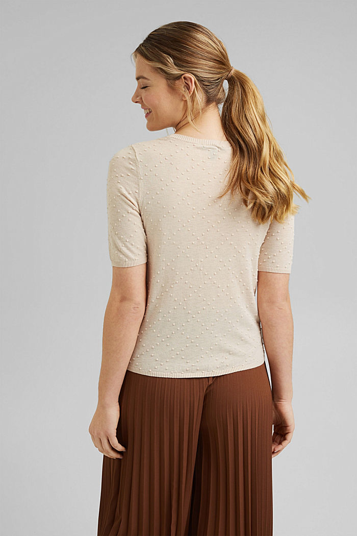 Short-sleeved jumper with a polka dot texture, CREAM BEIGE, detail image number 3