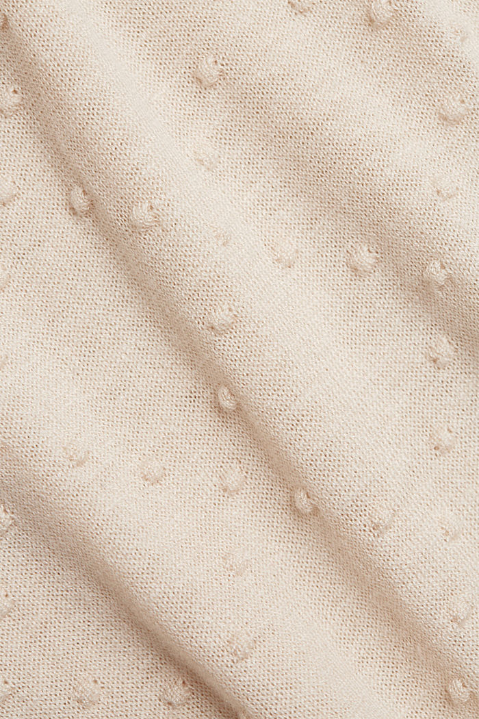 Short-sleeved jumper with a polka dot texture, CREAM BEIGE, detail image number 4