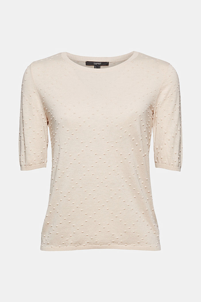 Short-sleeved jumper with a polka dot texture, CREAM BEIGE, detail image number 6