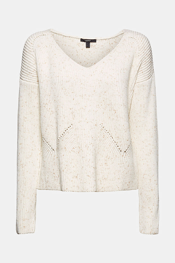 Textured jumper with effect yarn, cotton, OFF WHITE, detail image number 5