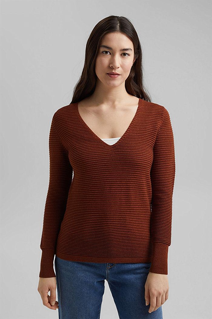 Van TENCEL™: geribde trui met een V-hals, TOFFEE, detail image number 0