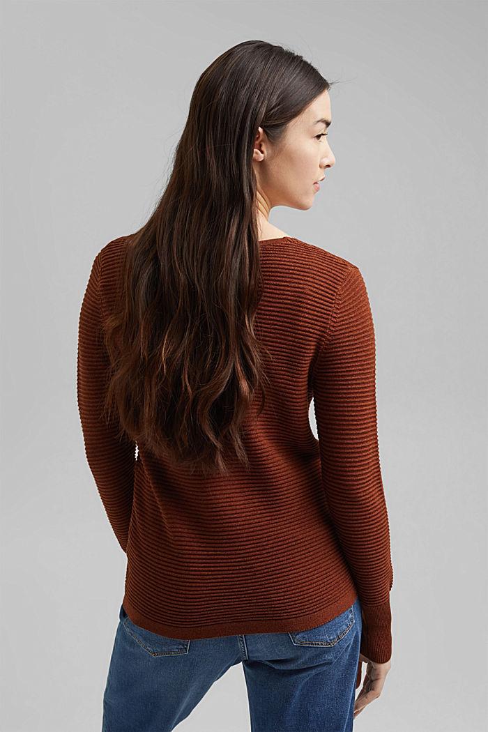 TENCEL™ blend: ribbed V-neck jumper, TOFFEE, detail image number 3