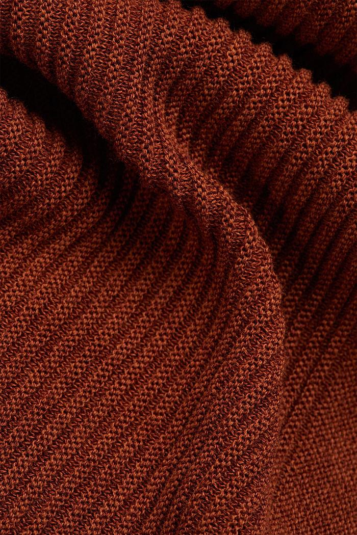 TENCEL™ blend: ribbed V-neck jumper, TOFFEE, detail image number 4