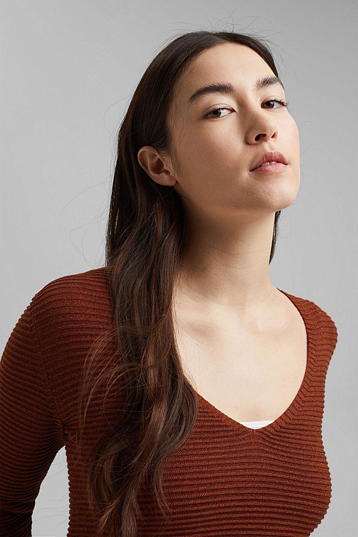TENCEL™ blend: ribbed V-neck jumper, TOFFEE, detail image number 6