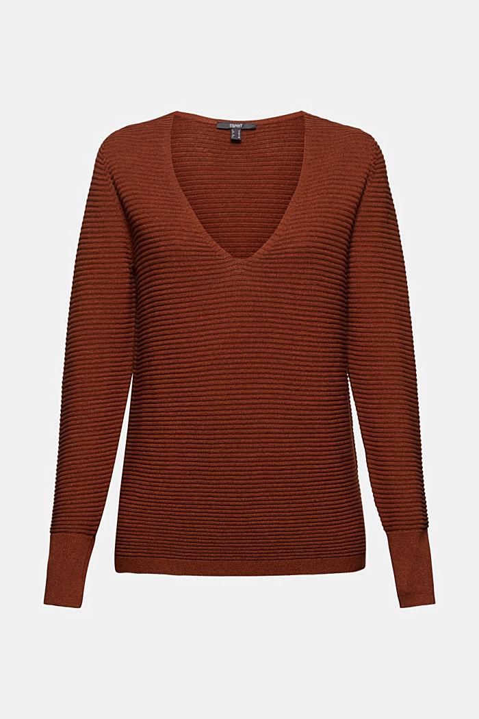 TENCEL™ blend: ribbed V-neck jumper, TOFFEE, detail image number 8