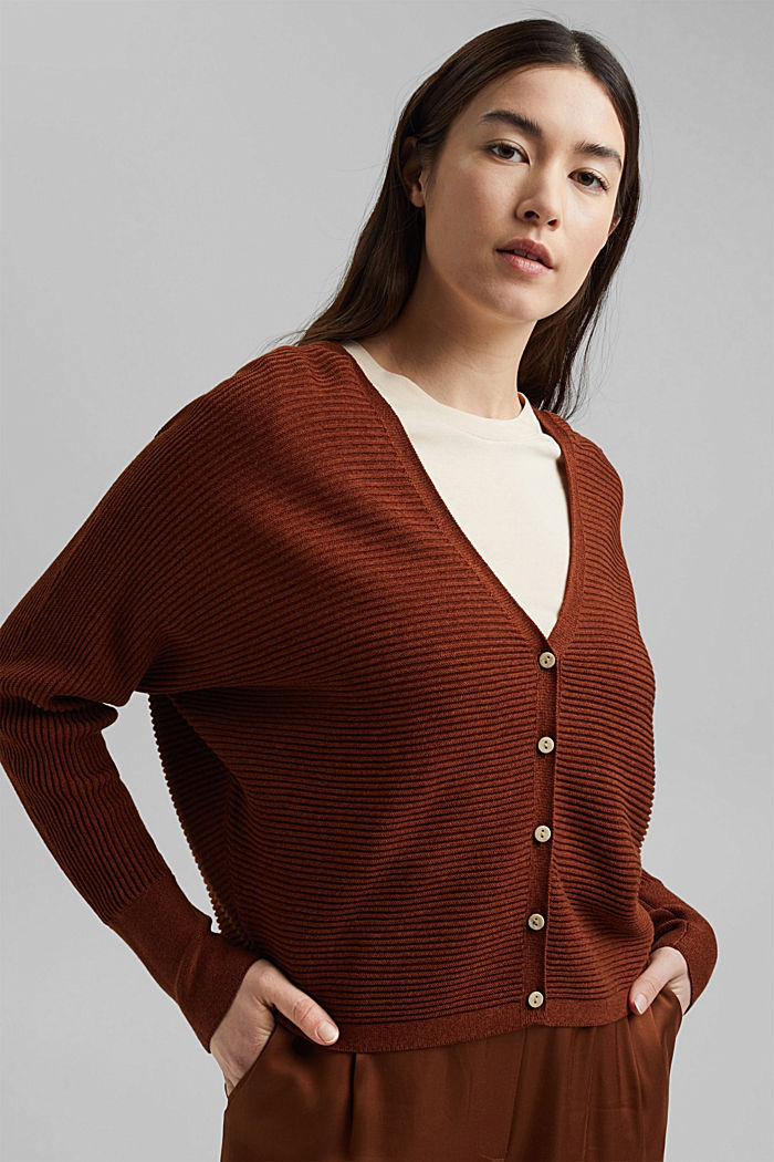 With lyocell TENCEL™: ribbed cardigan